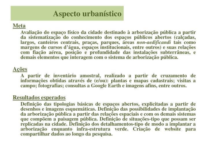 Aspecto urbanístico
