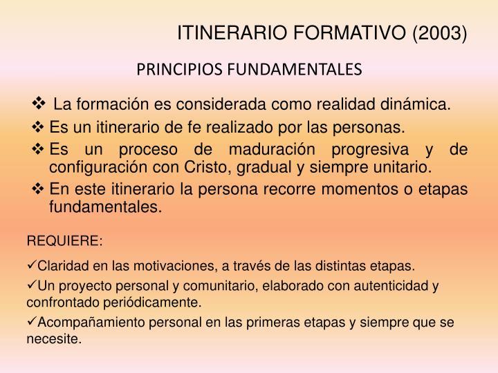 ITINERARIO FORMATIVO (2003)