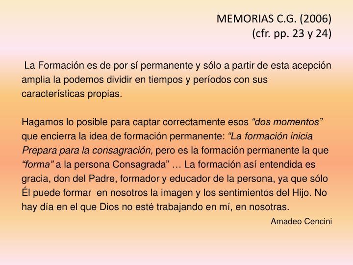 MEMORIAS C.G. (2006)