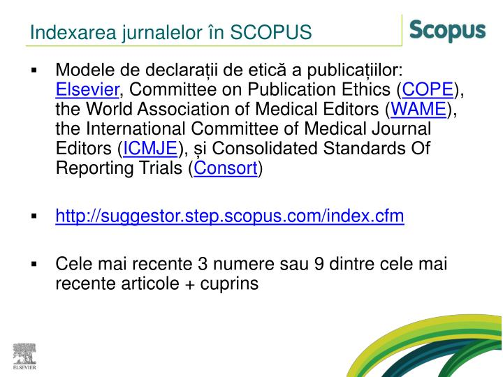Indexarea jurnalelor în SCOPUS