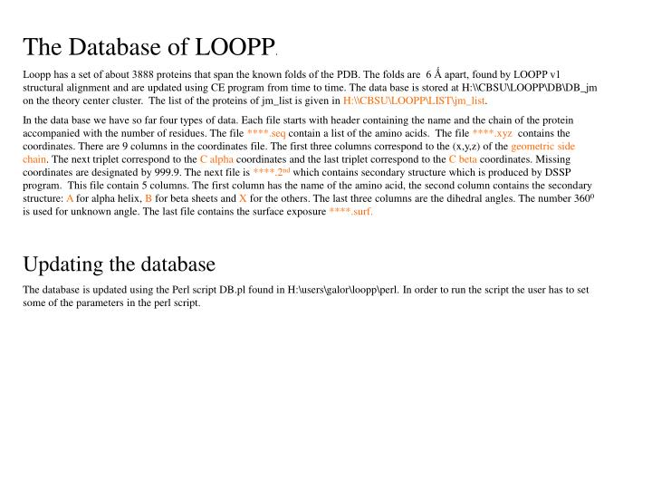The Database of LOOPP