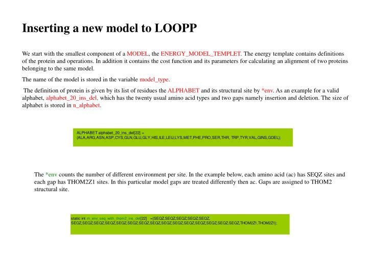 Inserting a new model to LOOPP