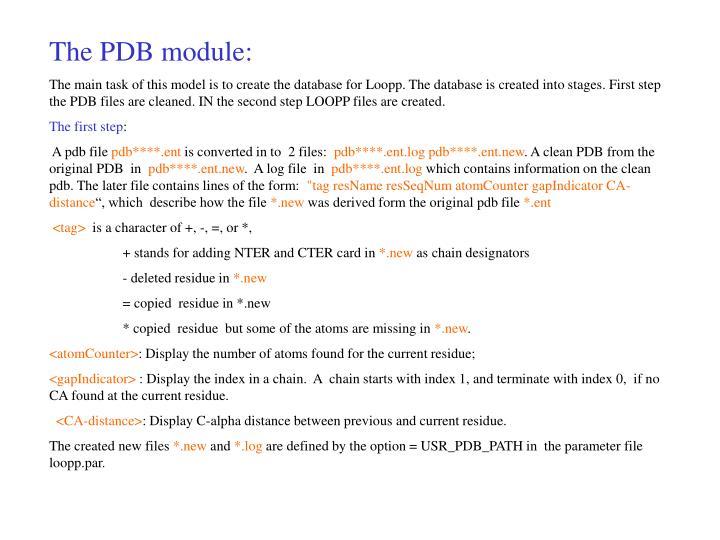 The PDB module: