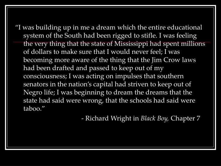 """I was building up in me a dream which the entire educational system of the South had been rigged ..."