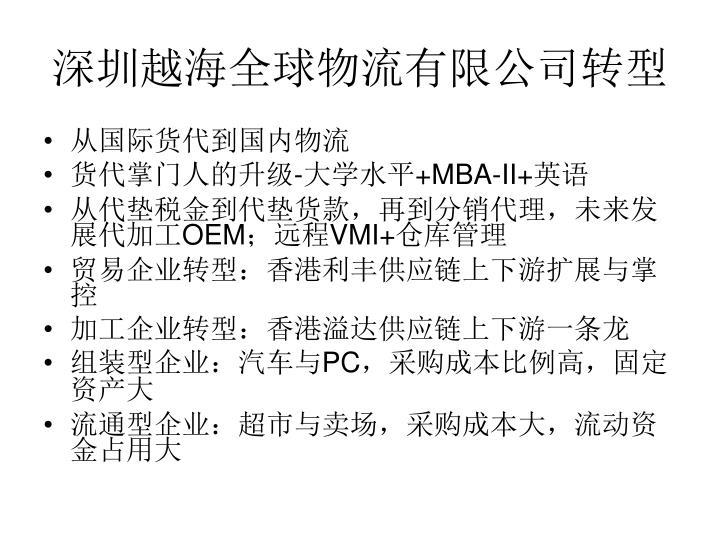 深圳越海全球物流有限公司转型