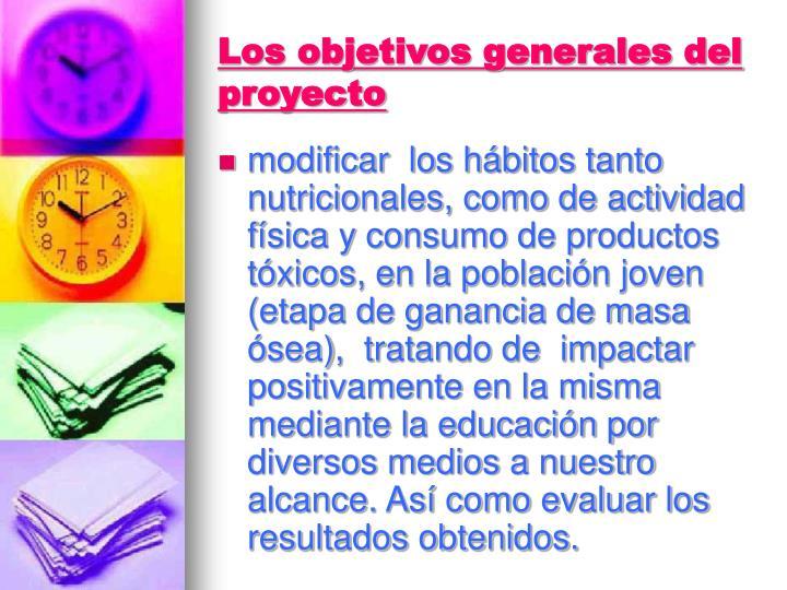 Los objetivos generales del proyecto