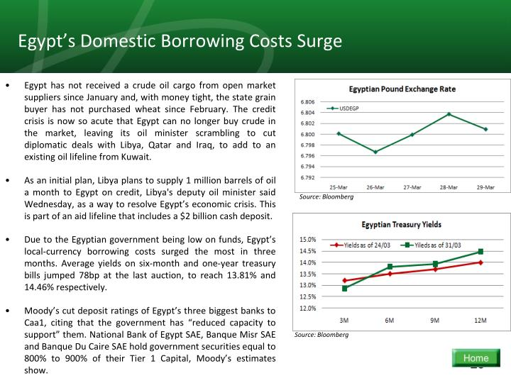 Egypt's Domestic Borrowing Costs Surge