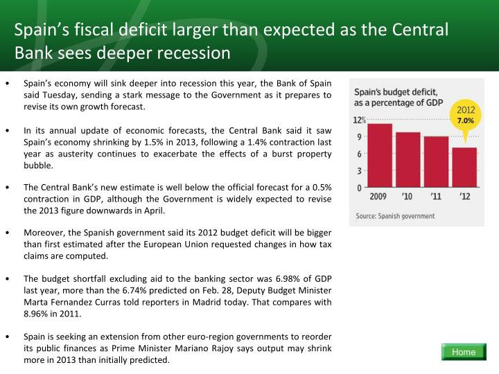 Spain's fiscal deficit larger than expected as the Central Bank sees deeper recession