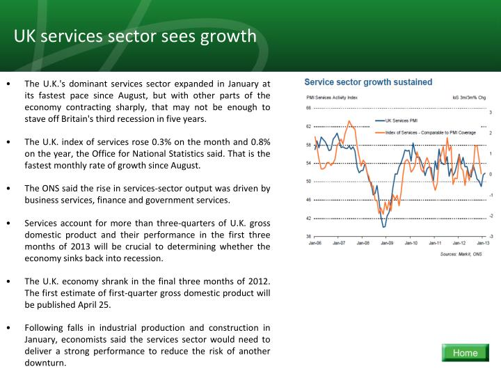 UK services sector sees growth