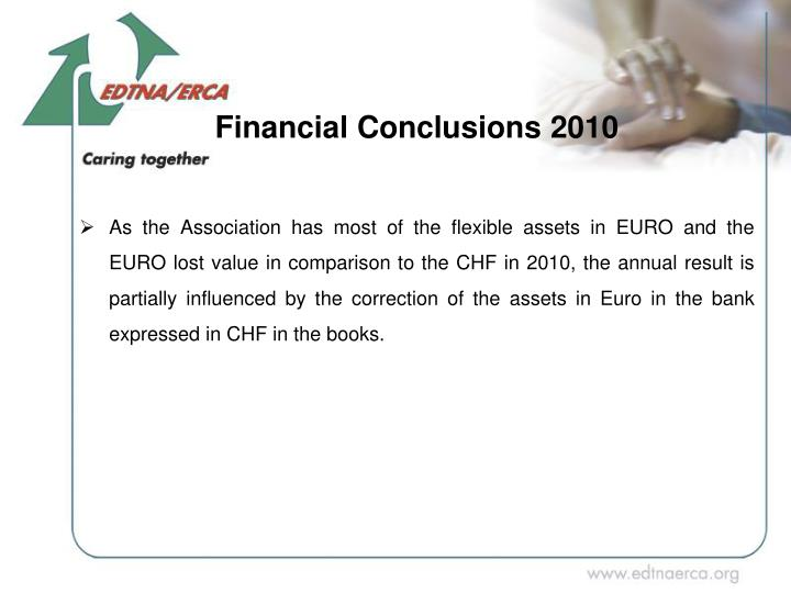 As the Association has most of the flexible assets in EURO and the EURO lost value in comparison to the CHF in 2010, the annual result is partially influenced by the correction of the assets in Euro in the bank expressed in CHF in the books.