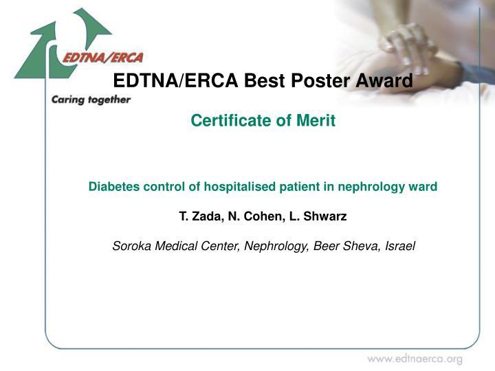 EDTNA/ERCA Best Poster Award