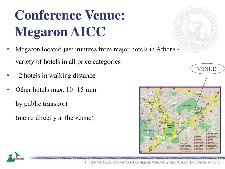 Megaron located just minutes from major hotels in Athens - variety of hotels in all price categories