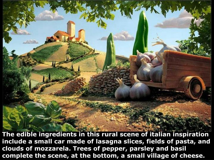 The edible ingredients in this rural scene of italian inspiration