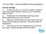 21 june 2014 event feedback from participants