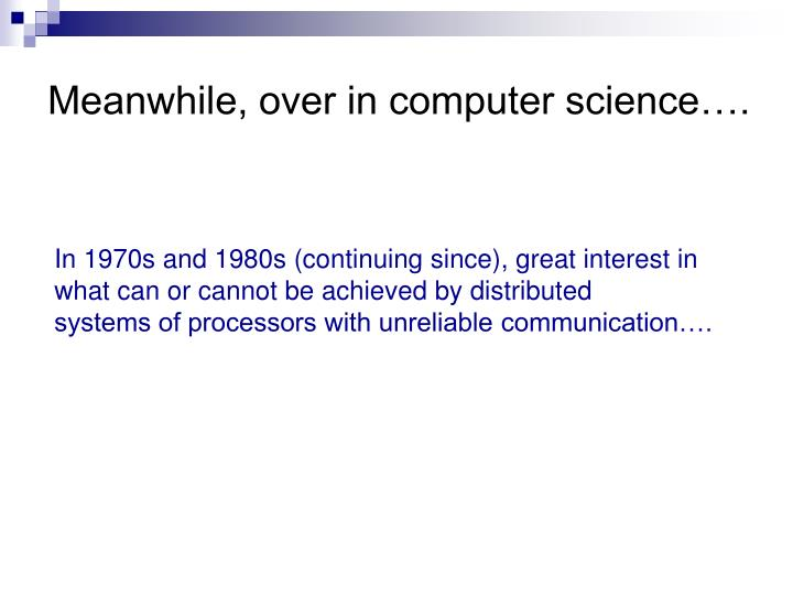 Meanwhile, over in computer science….