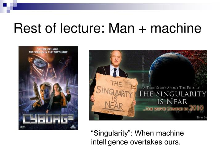 Rest of lecture: Man + machine