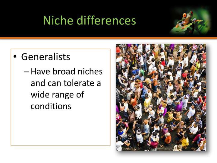 Niche differences