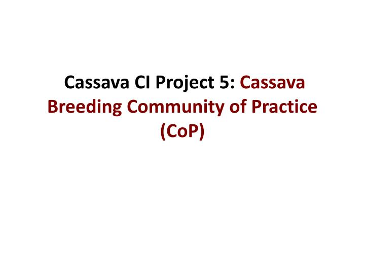 Cassava CI Project 5: