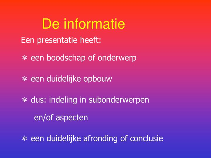 De informatie