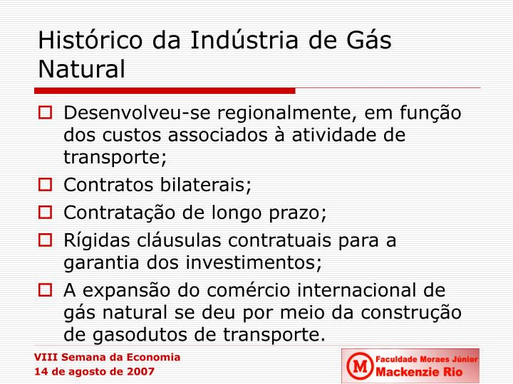 Histórico da Indústria de Gás Natural