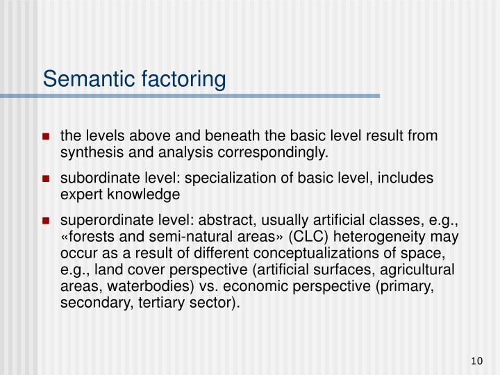Semantic factoring