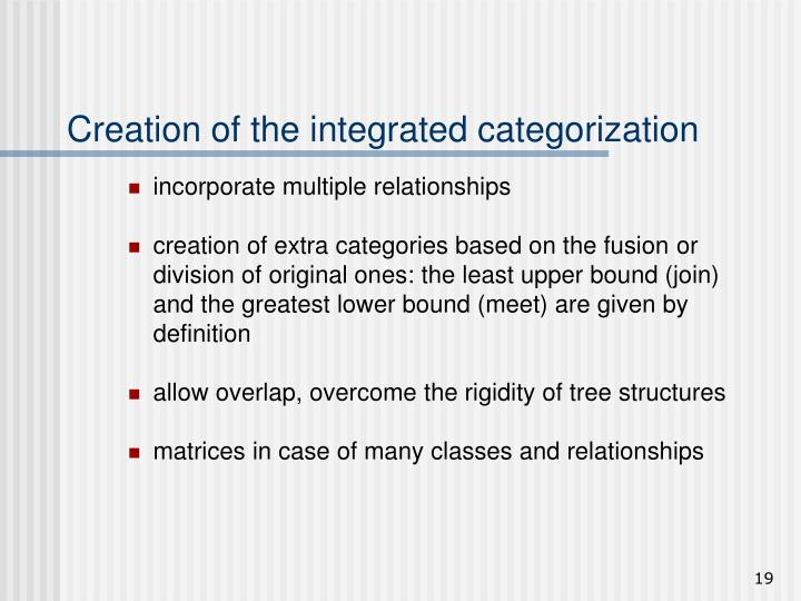 Creation of the integrated categorization