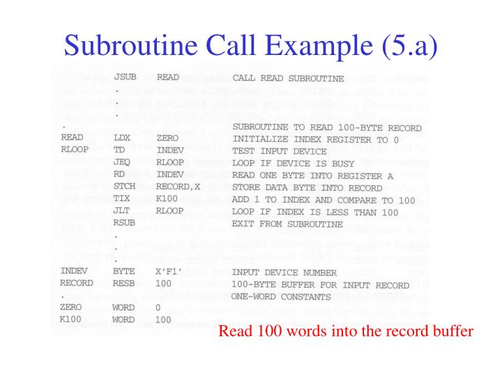 Subroutine Call Example (5.a)
