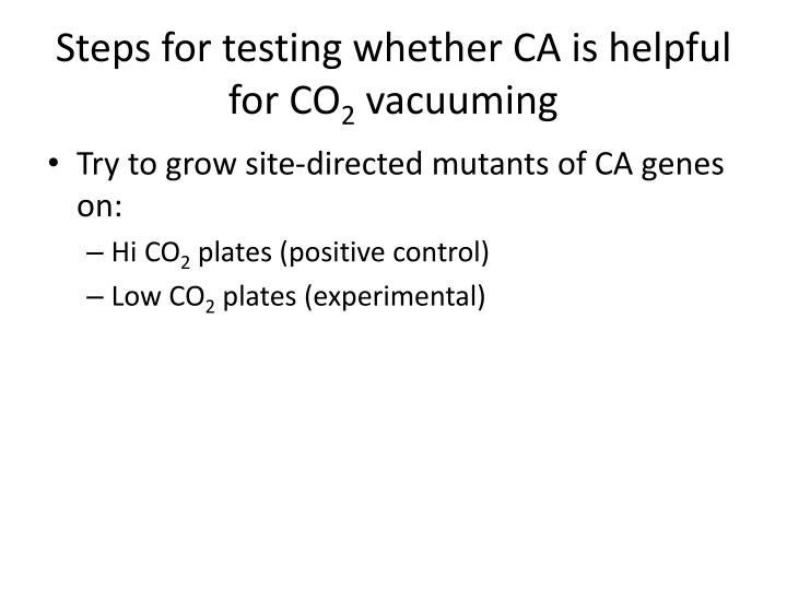 Steps for testing whether CA is helpful for CO