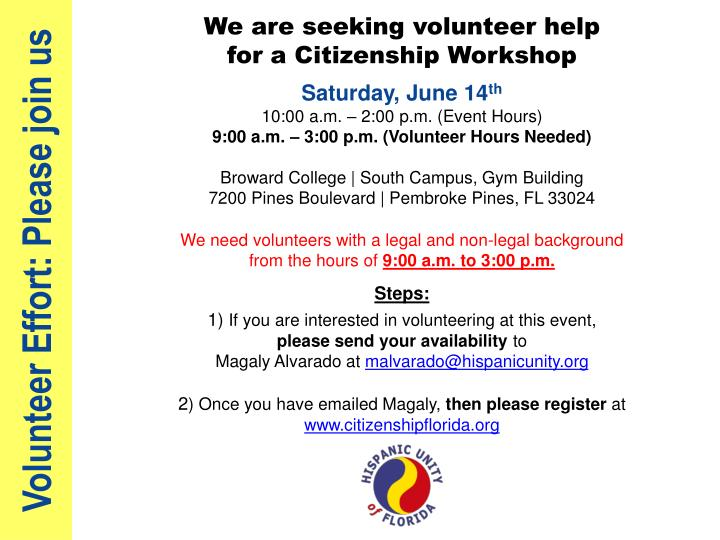 Volunteer effort please join us