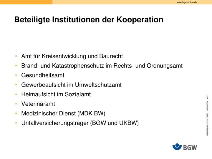Beteiligte institutionen der kooperation