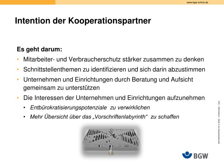 Intention der Kooperationspartner