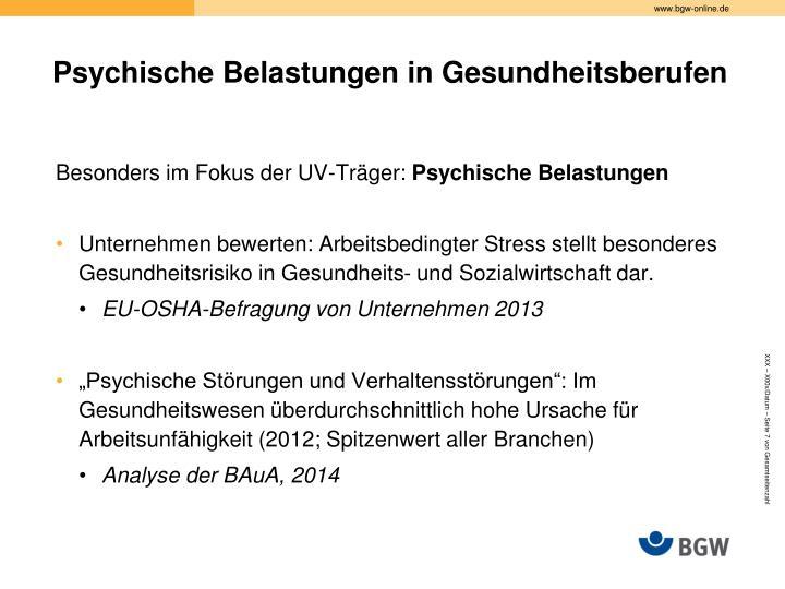 Psychische Belastungen in Gesundheitsberufen