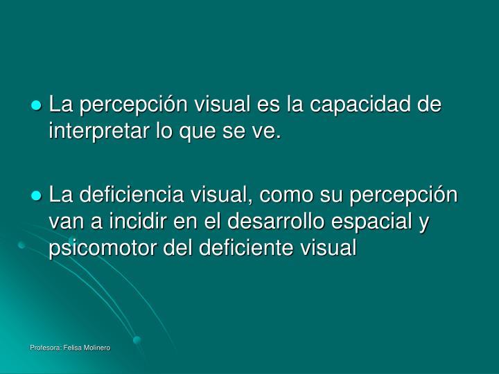 La percepción visual es la capacidad de interpretar lo que se ve.