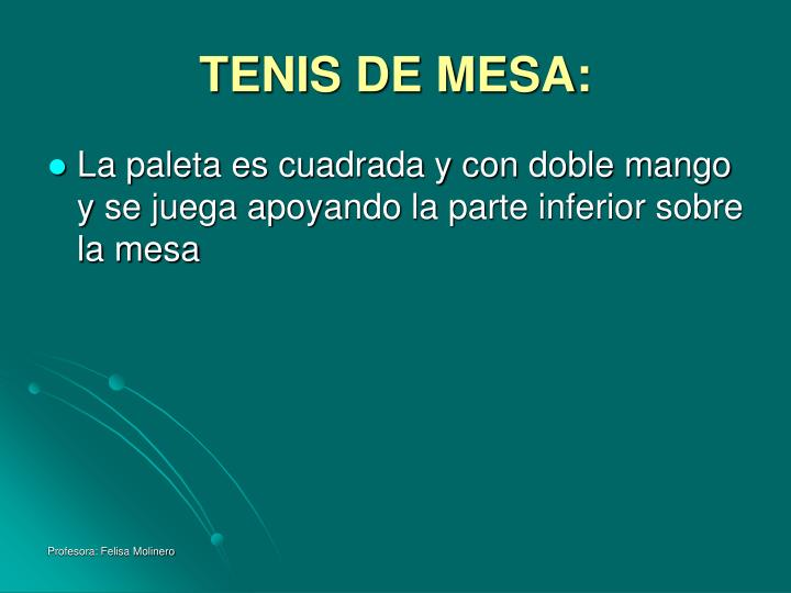 TENIS DE MESA: