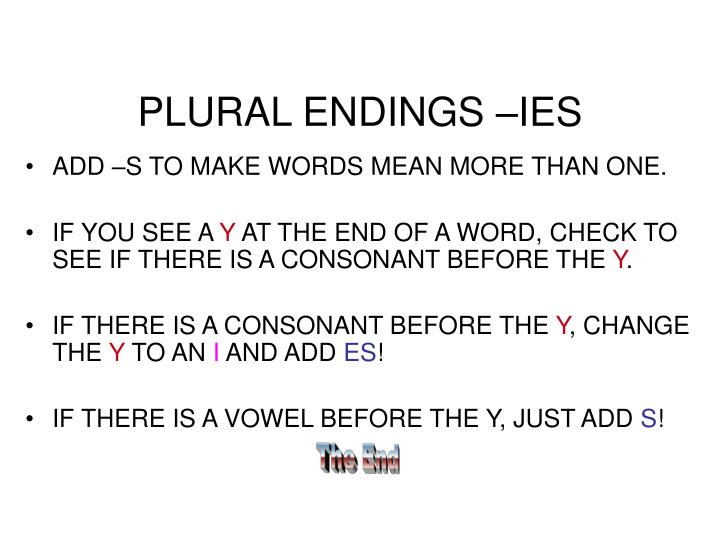 PLURAL ENDINGS –IES