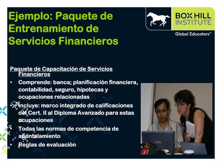 Ejemplo: Paquete de Entrenamiento de Servicios Financieros