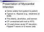 presentation of myocardial infarction