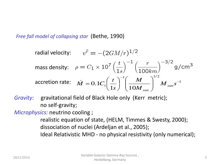 Free fall model of collapsing star