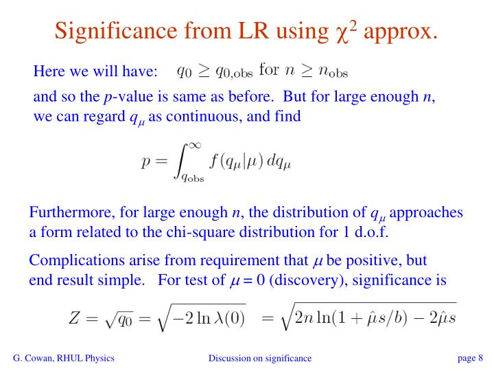 Significance from LR using