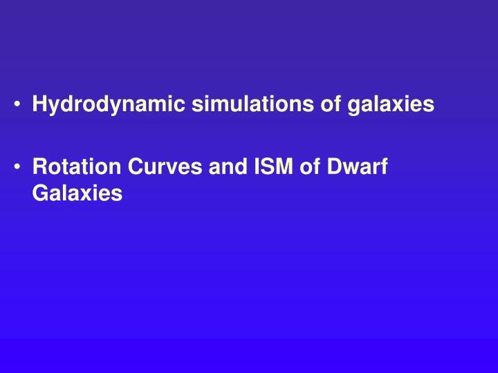 Hydrodynamic simulations of galaxies