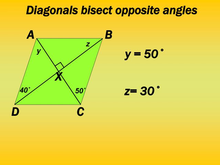Diagonals bisect opposite angles