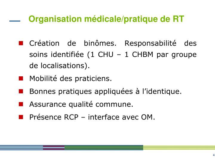 Organisation médicale/pratique de RT
