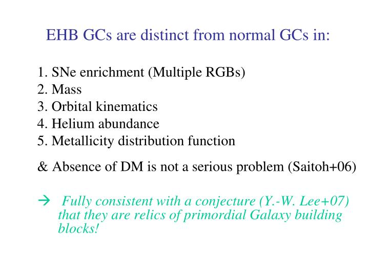 EHB GCs are distinct from normal GCs in: