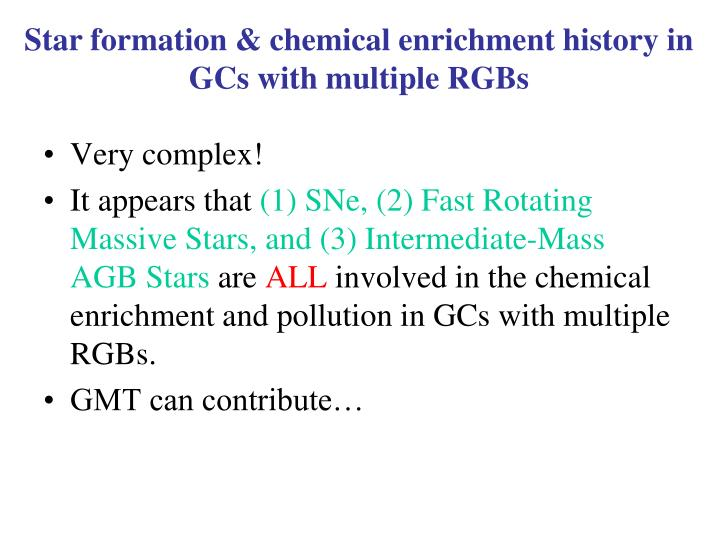 Star formation & chemical enrichment history in GCs with multiple RGBs