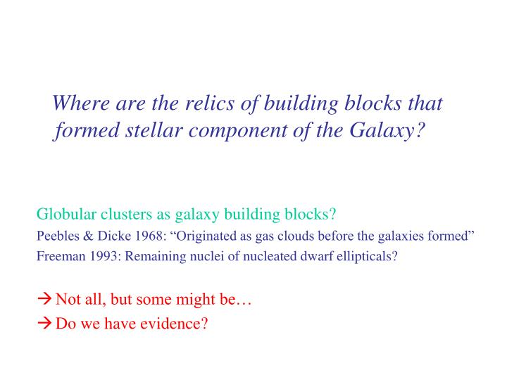 Where are the relics of building blocks that formed stellar component of the Galaxy?