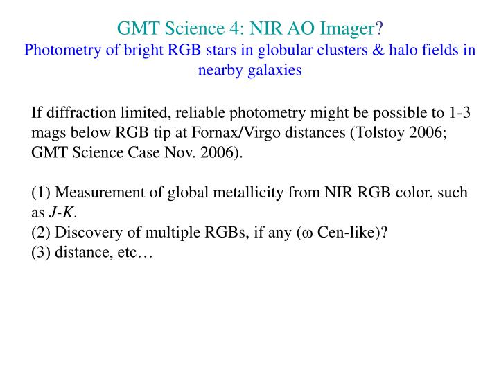 GMT Science 4: NIR AO Imager