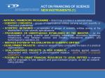 act on financing of science new instruments 1