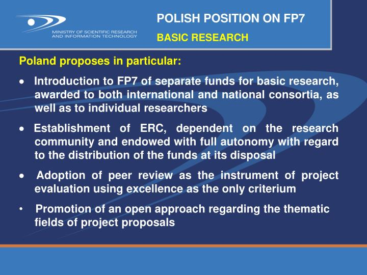 POLISH POSITION ON FP7