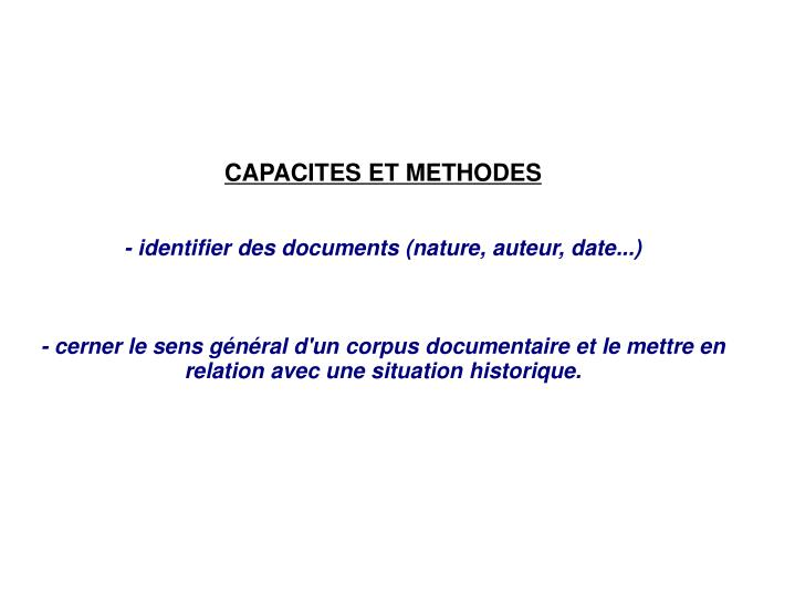 CAPACITES ET METHODES