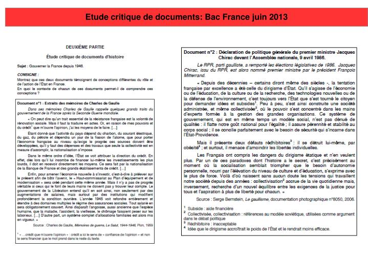 Etude critique de documents: Bac France juin 2013